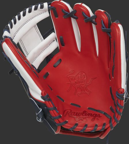 Scarlet palm of a Rawlings Boston Red Sox HOH glove with a white web and navy laces - SKU: RSGPRONP4-2BOS