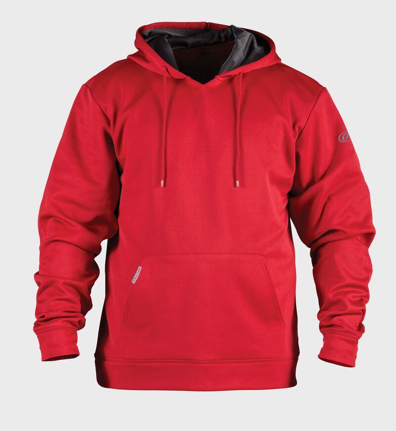 Front of Rawlings Scarlet Youth Long Sleeve Hoodie - SKU #YPFH