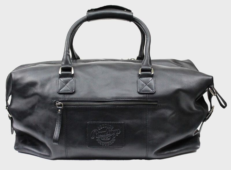 Back of a black Rawlings rugged duffle bag with a side zip compartment - SKU: RS10023-001