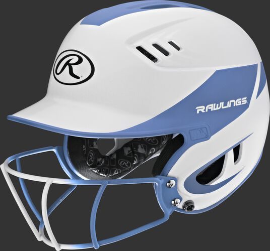 A white/columbia blue R16H2FGS Velo senior batting helmet with a white/columbia blue facemask