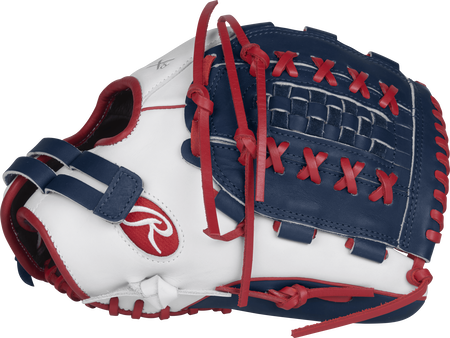 Thumb view of a white RLA125-WNS Liberty Advanced Color Series 12.5-inch fastpitch glove with a navy Double-Laced Basket web