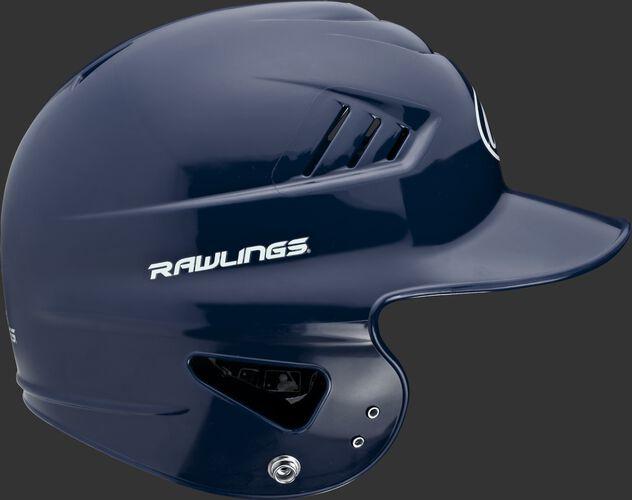 Right side of a navy RCFTB Rawlings Coolflo t-ball batting helmet