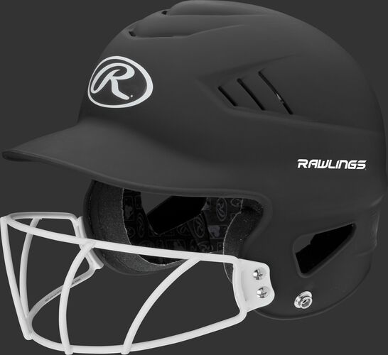 A black RCFHLFG Coolflo batting helmet with a white facemask
