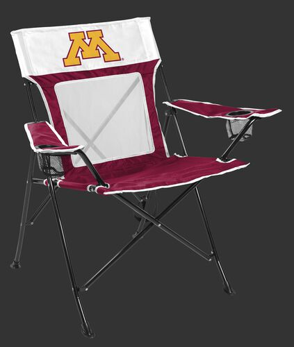 Front of Rawlings Maroon and White NCAA Minnesota Golden Gophers Game Changer Chair With Team Logo SKU #00643085111
