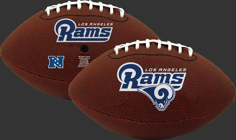 A NFL Los Angeles Rams football with team logos on both sides - SKU: 07081073124