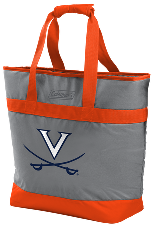 A grey NCAA Virginal Cavaliers 30 can tote cooler with orange accents and team logo printed on the front
