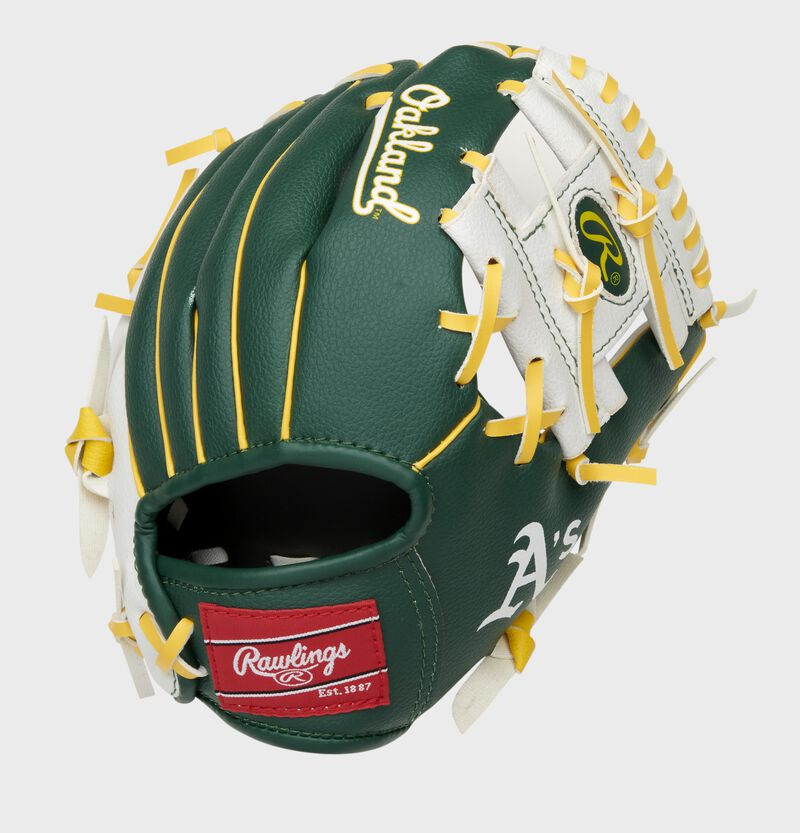 Back of a green/white Oakland Athletics I-web glove with a red Rawlings patch - SKU: 22000003111