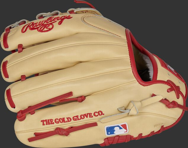 Back of a camel Xander Bogaerts Pro Preferred infield glove with the MLB patch on the pinky - SKU: RSGPROSDJ2-6XB