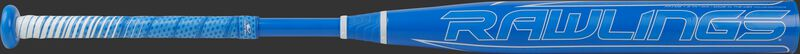Rawlings logo on a -9 Mantra fastpitch bat with a light blue barrel and grip - SKU: FP1M9