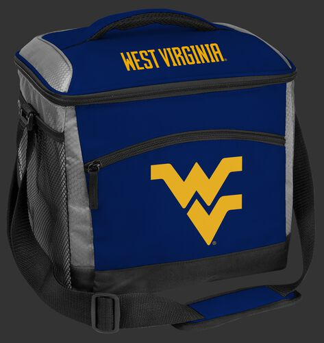 A blue West Virginia Mountaineers 24 can soft sided cooler with screen printed team logos - SKU: 10223114111