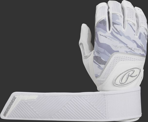 A white WHCSBG Workhorse compression strap batting glove with the compression strap wrapped around once