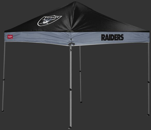 A  black/silver Las Vegas Raiders 9x9 shelter with a team logo on the left side - SKU: 03231072112