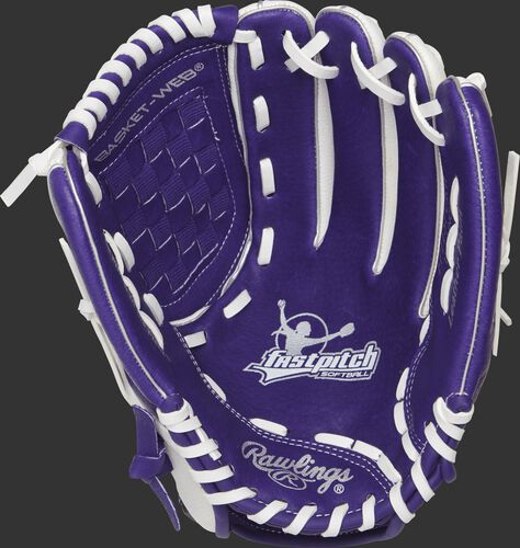 Purple palm of a Rawlings fastpitch softball glove with white stamping and white laces - SKU: ACAFP115PURW