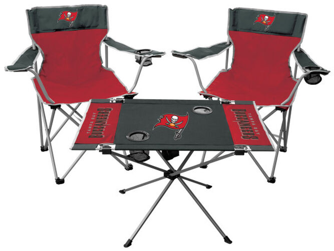 Front of Rawlings Grey and Red NFL Tampa Bay Buccaneers 3-Piece Tailgate Kit With Two Kickoff Chairs, An Endzone Table, And A Transport Bag With Team Logo SKU #01041086511