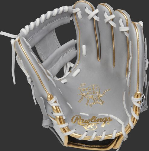PRO204W-2GW Rawlings HOH exclusive glove with a grey palm, white laces and grey I-web