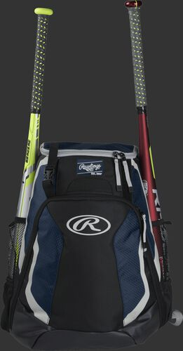 A black/navy R500 Rawlings equipment backpack with a bat on each side