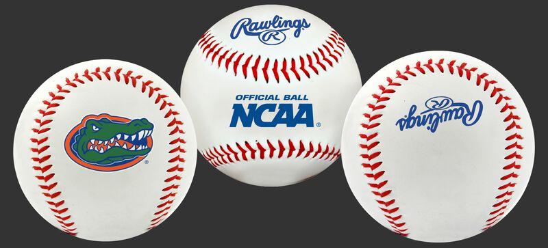 3 NCAA Florida Gators baseballs with a team logo, NCAA logo and Rawlings logo
