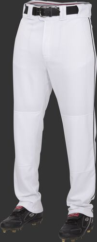 Front of Rawlings White/Black Youth Semi-Relaxed Piped Pant - SKU #YPRO150P-BG/DG-90