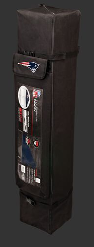 Black carry case of a 9x9 New England Patriots canopy with a team logo on the side compartment - SKU: 03231076112