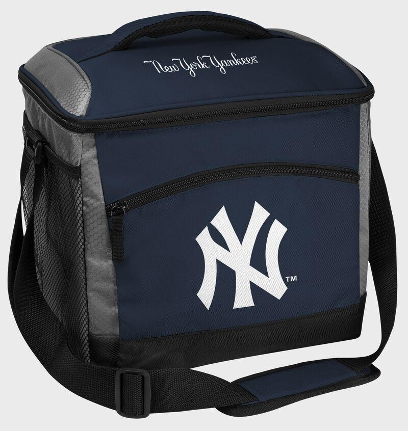 A navy New York Yankees 24 can soft sided cooler with screen printed team logos - SKU: 10200030111