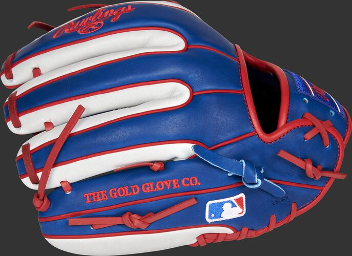 Royal/white back of a Chicago Cubs Heart of the Hide infield glove with the MLB logo on the pinky - SKU: RSGPRO314-2CHC