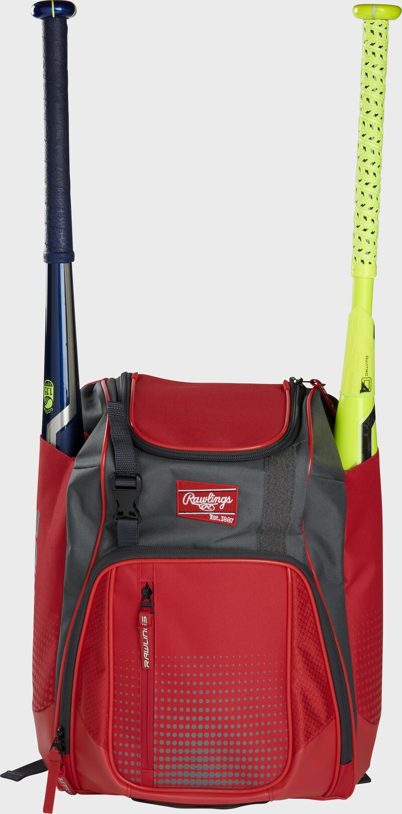 Front of a scarlet Rawlings Franchise baseball backpack with two bats in the side sleeves - SKU: FRANBP-S