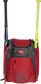 Front of a scarlet Rawlings Franchise baseball backpack with two bats in the side sleeves - SKU: FRANBP-S image number null