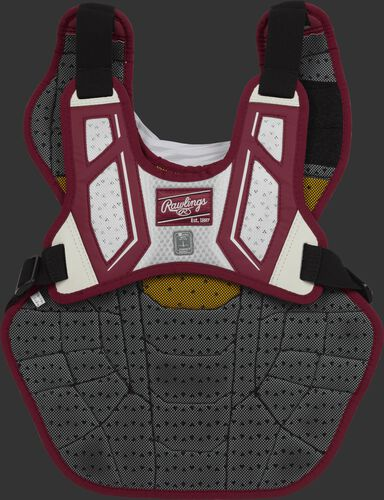 Back harness of a cardinal/white CPV2N intermediate Velo 2.0 chest protector with Dynamic Fit System 2.0