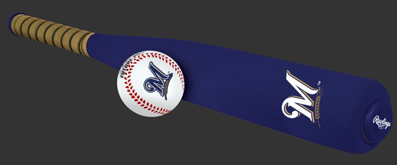 Side of Rawlings Milwaukee Brewers Foam Bat and Ball Set in Team Colors With Team Name and Logo On Front SKU #01860006111