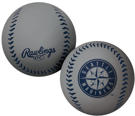 A grey Seattle Mariners Big Fly rubber bounce ball