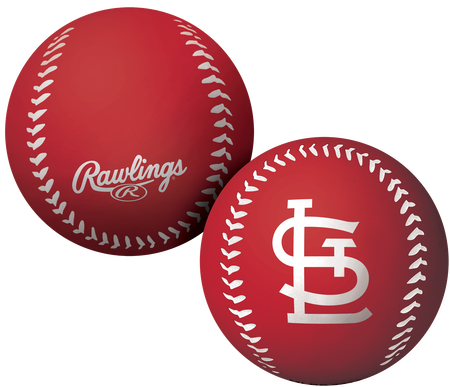 A red St. Louis Cardinals Big Fly rubber bounce ball