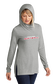 A woman wearing a gray Rawlings Softball performance hoodie with the hood up over her head - SKU: RSGLWH-G image number null