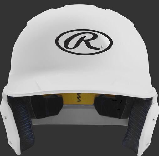 Front of a matte white MACH junior size batting helmet