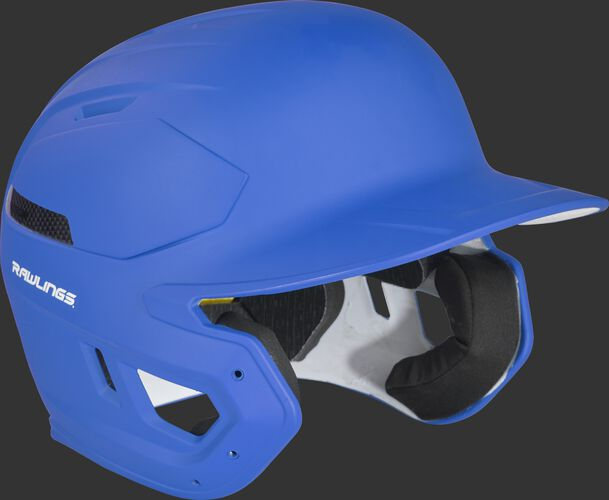 Right angle view of a matte royal CAR07A Rawlings MACH Carbon helmet