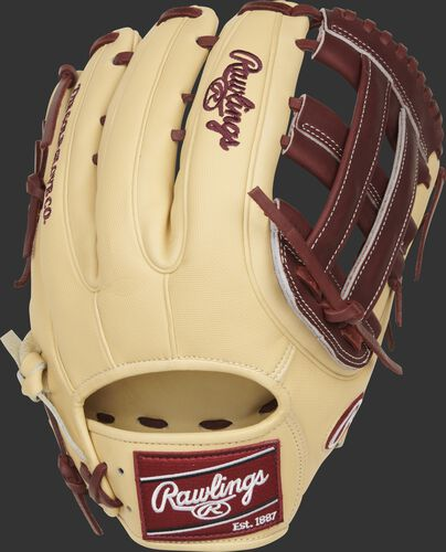 Camel speed shell back of a Heart of the Hide ColorSync 5.0 H-web outfield glove with a maroon Rawlings patch - SKU: PRO3319-6CSH