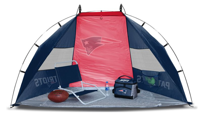 A New England Patriots sideline sun shelter set up with a chair, cooler, football and water bottle - SKU: 00961076111