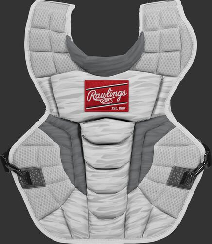CPV2NI white/silver Rawlings Velo 2.0 intermediate chest protector with Arc Reactor Core