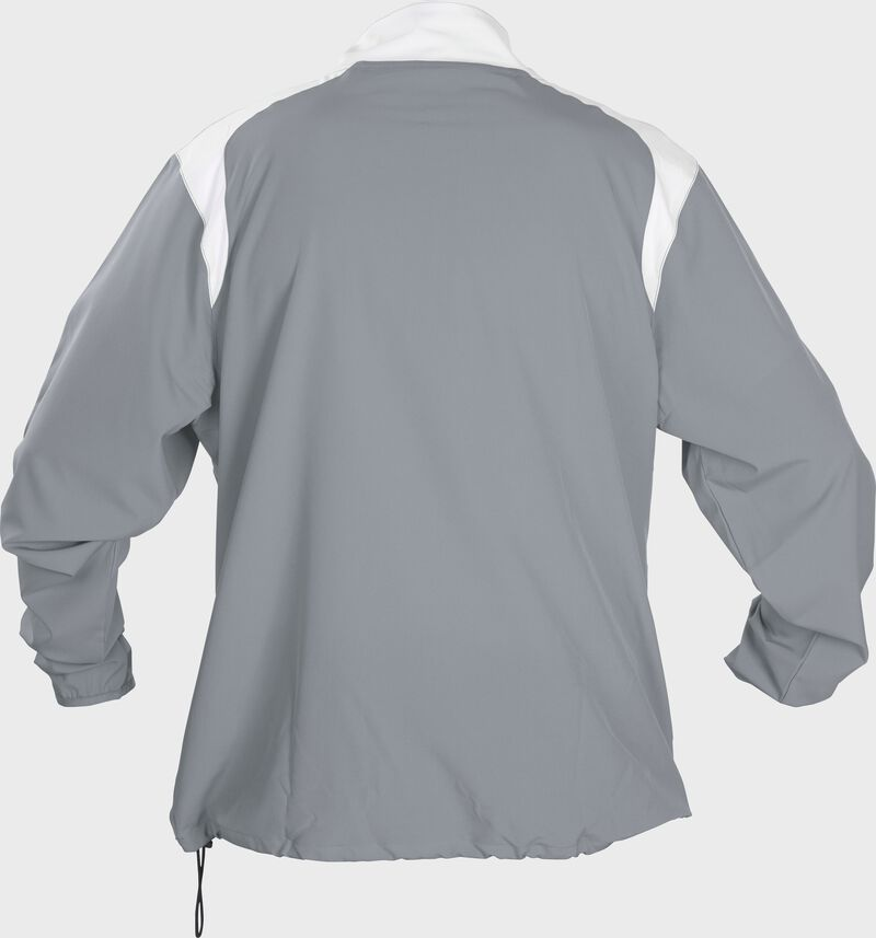 Back of Rawlings Gray Adult Long Sleeve Quarter-Zip Jacket - SKU #FORCEJ-B-88