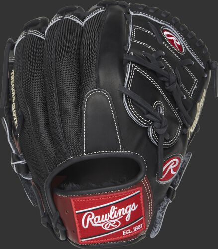 Black mesh back of a Rawlings Heart of the Hide 2-Piece solid web glove with a red Rawlings patch - SKU: PRO1000-9PBM