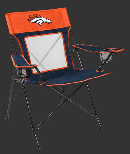 Front of Rawlings Navy and Orange NFL Denver Broncos Game Changer Chair With Team Logo SKU #00651066111