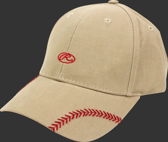 Front of Rawlings Women's Change Up Khaki Baseball Stitch Oval-R Logo Hat - SKU #RC40000-252