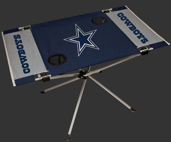 Rawlings Silver and Navy NFL Dallas Cowboys Endzone Table With Two Cup Holders, Team Logo, and Team Name SKU #03391065111