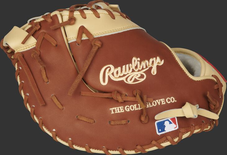 Bruciato back of a Gameday 57 Series Matt Olson first base mitt with the MLB logo on the pinkie - SKU: PROSDCTMO28