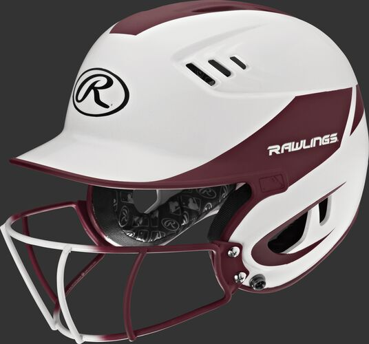 A white/maroon R16H2FGS Velo senior batting helmet with a white/maroon facemask
