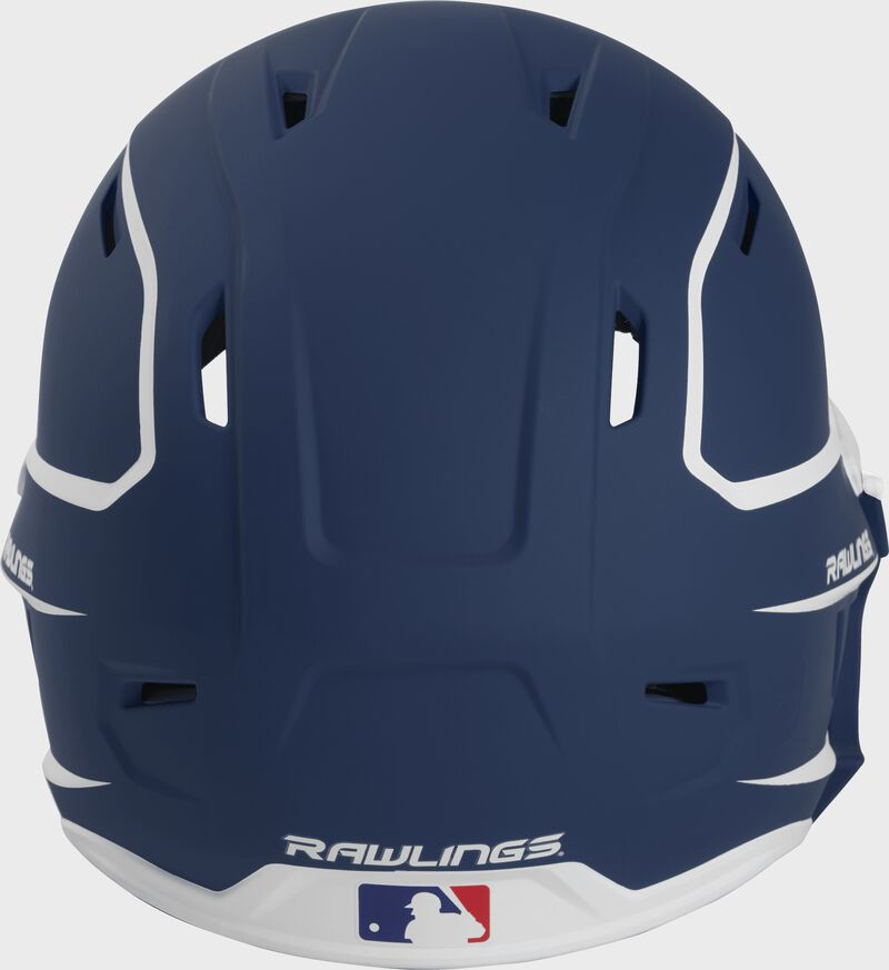 Back of a MACHEXTR high performance junior MACH helmet with a matte navy/white shell and Official Batting Helmet of MLB logo