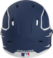 Back of a MACHEXTR high performance junior MACH helmet with a matte navy/white shell and Official Batting Helmet of MLB logo image number null