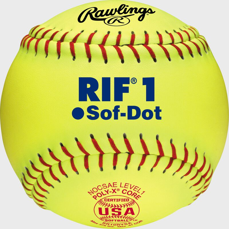 "A 10"" USA RIF official softball with red stitching and red USA softball stamp - SKU: SR10RYSA"