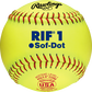 """A 10"""" USA RIF official softball with red stitching and red USA softball stamp - SKU: SR10RYSA image number null"""