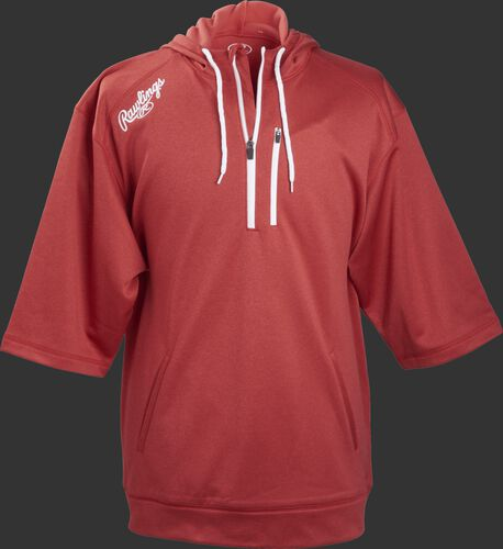 Front of Rawlings Scarlet Adult Half Sleeve Hoodie with Zipper - SKU #RHTYO-DSW-88