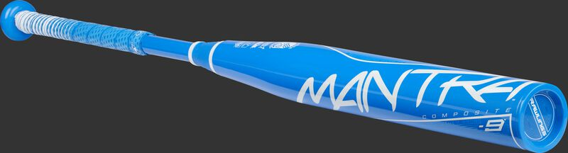 Angled view of a light blue Rawlings Mantra bat with a light blue end cap - SKU: FP1M9